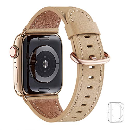 WFEAGL Compatible iWatch Band 40mm 38mm, Top Grain Leather Band with Gold Adapter (The Same as Series 5/4 with Gold Stainless Steel Case in Color) for iWatch Series 5/4/3/2/1(Camel Band+Gold Adapter)