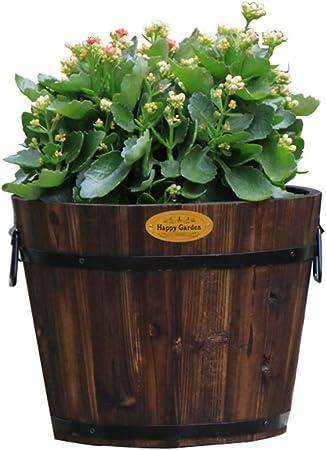 Maceta de madera de barril, macetas de plantas de flores rústicas ...