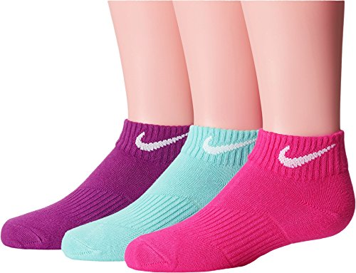 Nike Kids Unisex Lightweight Cotton Cushion Low Cut 3-Pair Pack (Toddler/Little Kid/Big Kid) Hot Pink/Light Anthracite/Bold Berry MD (5-7 Big Kid Shoe)