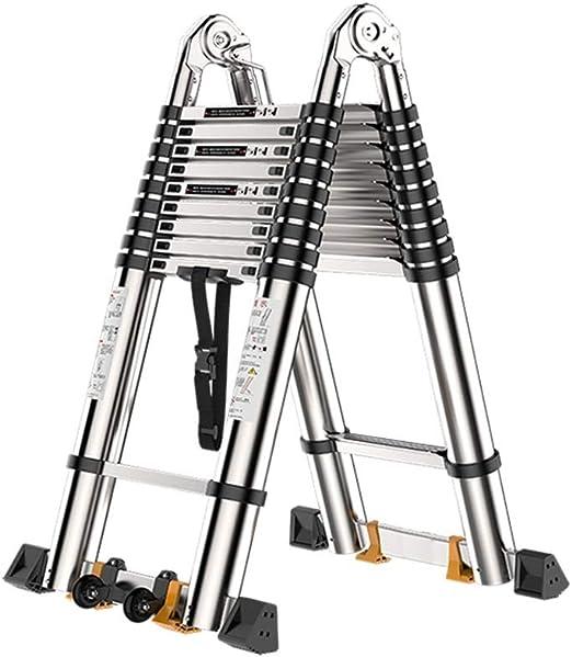 ZR- Escalera Telescópica Aluminio Un Cuadro Escalera De Extensión ...