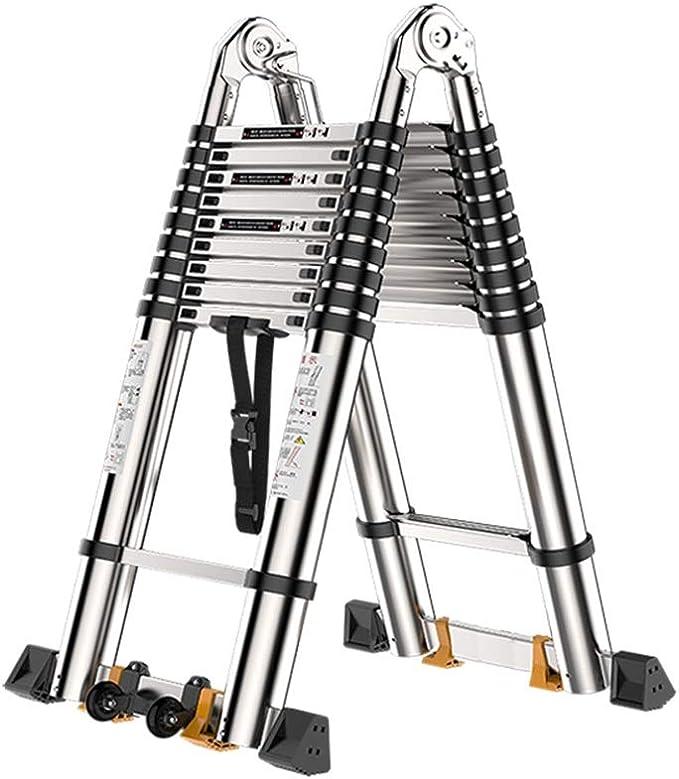 ZR- Escalera Telescópica Aluminio Un Cuadro Escalera De Extensión, Portátil De Múltiples Fines Plegable Escalera Telescópica, Capacidad De 330 Libras -Fácil de almacenar y fácil de llevar: Amazon.es: Hogar