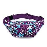 iSuperb® Praktisch Damen Gürteltasche Hüfttasche mit 4 Reißverschlusstasche für Alltag Reise Festivals (lila mit Blume)