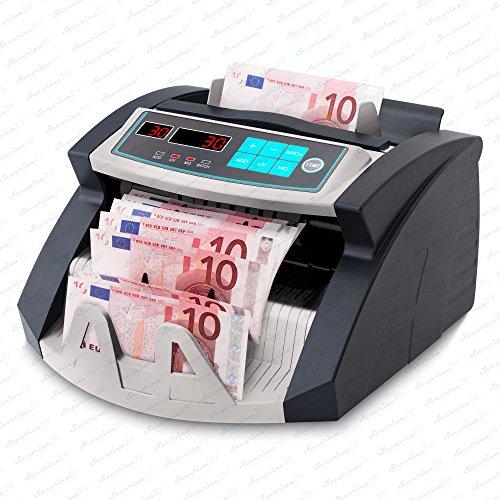 Geldzählmaschine Geldzähler Geldscheinzähler SR-3750 LCD UV/MG/IR von Securina24® (Schwarz - Silber - LED)