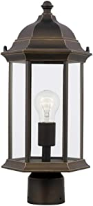 Sea Gull 8238601-71 Sevier Clear Glass Outdoor Post/Pole Mount, 1-Light 100 Watt, 18