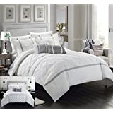 Chic Home 10 Piece Dorothy Pinch Pleated Ruffled and Reversible Geometric Design Printed Bed in a Bag Comforter Set, Queen, White