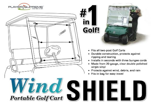 Portable Golf Cart Windshield (Assembles and Removes in Seconds!)