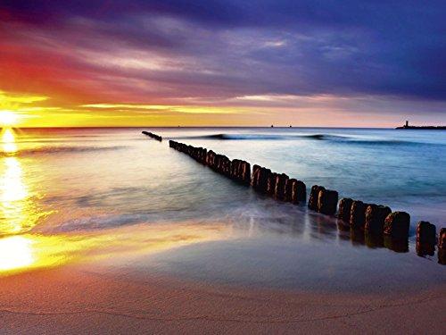 Artland Qualitätsbilder I Bild auf Leinwand Leinwandbilder TTstudio Ostsee mit schönem Sonnenaufgang am polnischen Strand Landschaften Strand Fotografie Rot C4QQ