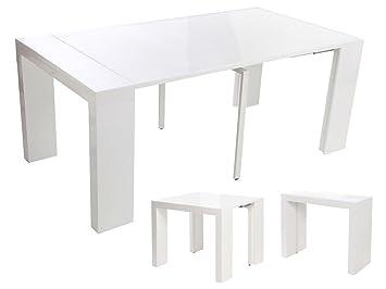 Habitat et Jardin - Table Console Extensible Dina - Blanc laqué ...
