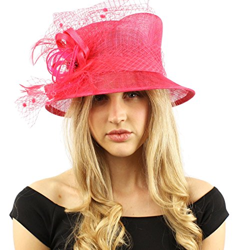 (Elegant Victorian Netted Overlay Simamay millinery Bucket Cloche Dress Hat Fuchsia)