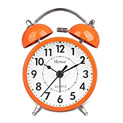 HENSE Classical Retro Twin Bell Mute Silent Quartz Movement Non Ticking Sweep Second Hand Bedside Desk Analog Alarm Clock with Nightlight and Loud Alarm HA01 (Orange)
