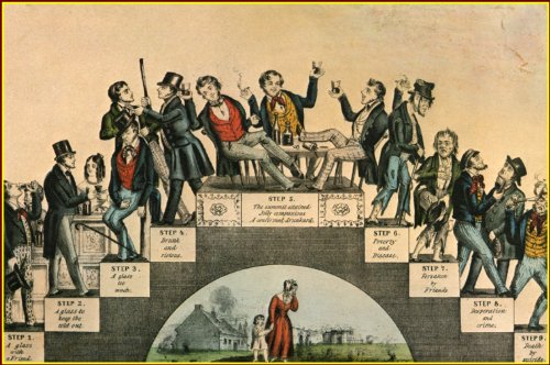 Currier & Ives: The Drunkard's Progress / From The First Glass To The Grave, Art Print 11.1/2 X 15 inches (Currier & Ives Glass Print)