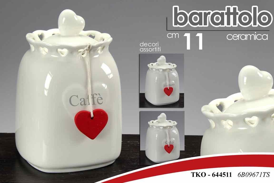 Barattolo ceramica 1 pezzo decorazione a scelta sale o zucchero o caffè con cuore Gicos