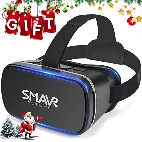 SMAVR 3D VR Immersive Headset Glasses, Virtual Reality Viewer Helmet Goggles, Private Theater for Movie & Games. Adjustable Pupil, Fit for Most Users via iOS & Android Phone (Black)