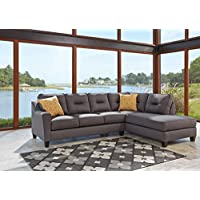 Kirwin Nuvella Contemporary Gray Color Fabric Sectional Sofa
