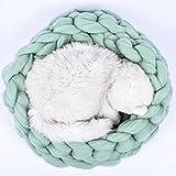 Handmade Mint Cat Bed,Chunky Knit Cat Bed,Pet Bed,Pet Cave,Pet Bedding,Merino Wool Cat Bed Diameter 20in