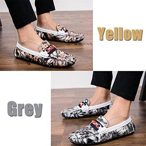 On Shoes Silp Driving Cuero Gray De Casual Comfort Flower Moda Men Dermis Zapatos Soft Sailing ZSqwHfA