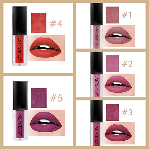 Matte Lipstick Set, 5 Colors Waterproof Long Lasting Non-Stick Cup Liquid Lipstick Kissproof Lipgloss Set by AL'IVER (Image #3)
