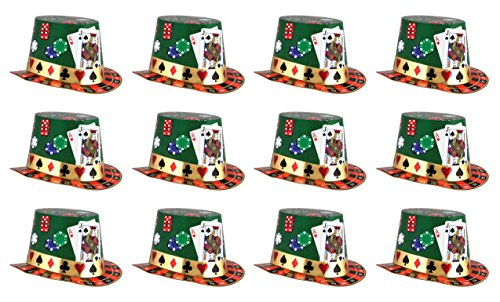 Beistle S66614-25AZ12 Casino Night Hi-Hats 12 Piece, OSFM, Multicolored -