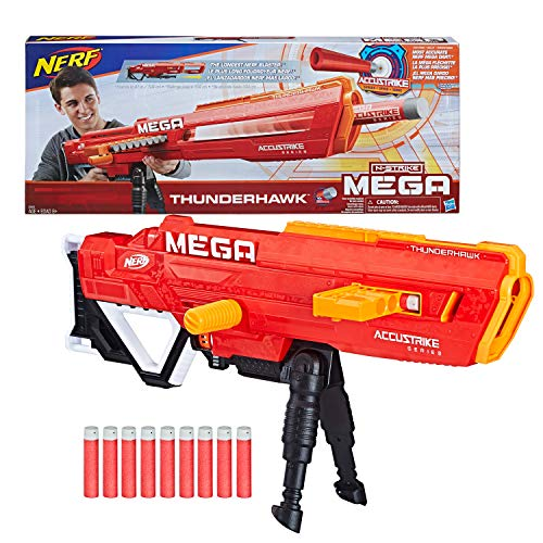 (Thunderhawk Nerf AccuStrike Mega Toy Blaster - Longest Nerf Blaster - 10 Official AccuStrike Nerf Mega Darts, 10-Dart Clip, Bipod - For Kids, Teens, and)