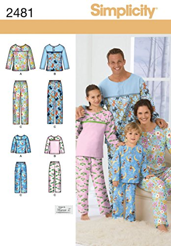 Sewing Pants - Simplicity Child, Teen, and Adult Pajama Tops and Pants Sewing Pattern, Sizes XS-XL