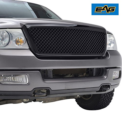 Upper 4 Piece Grille Grill - EAG 04-08 Ford F-150 Mesh Grille Black Full ABS Grill With Shell OE Replacement