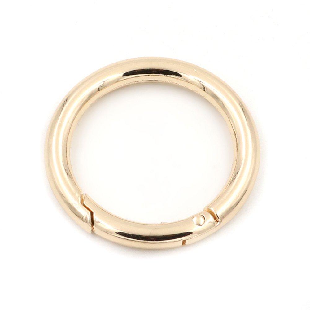 2 moschettoni a scatto rotondi, a molla, portachiavi a molla per fibbie ad anello, Black, 16 mm Anjing