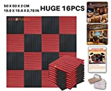 Ace Punch 16 Pack BLACK AND RED Color Combination Flat Wedge Acoustic Foam Panel DIY Design Studio Soundproofing Wall Tiles Sound Insulation with Free Mounting Tabs 19.6'' x 19.6'' x 0.8''