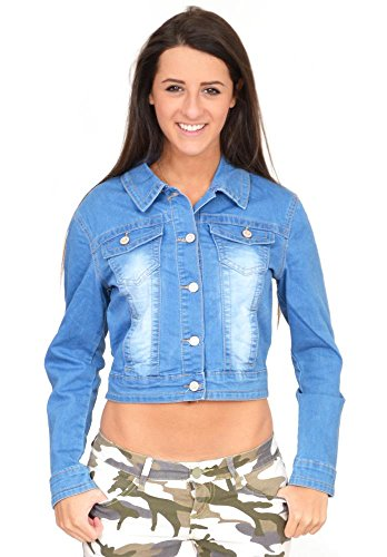 D. Cherri Women's Light Blue Faded Fitted Stretch Cropped Denim Jean Jacket (US 14 / UK16) ()
