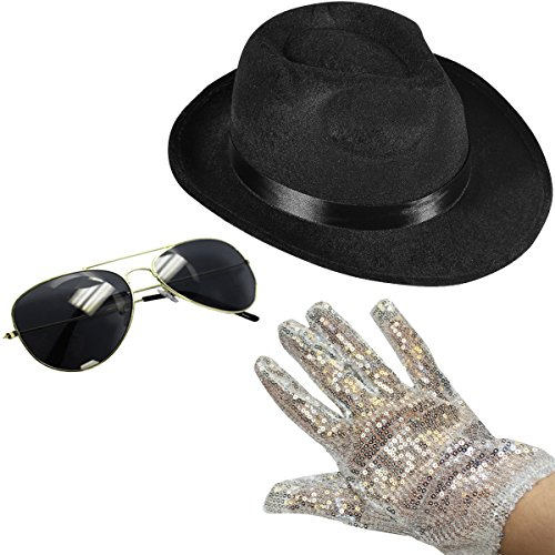 [Set of 3 - Fedora Hat Sequin Glove And Sunglasses by Funny Party Hats (Fedora Hat Sequin Glove And Black] (Throwback Halloween Costumes)