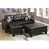3Pcs Modern Espresso Bonded Leather Reversible Sectional Sofa Chaise Ottoman Set with Accent Tufting and Pillows
