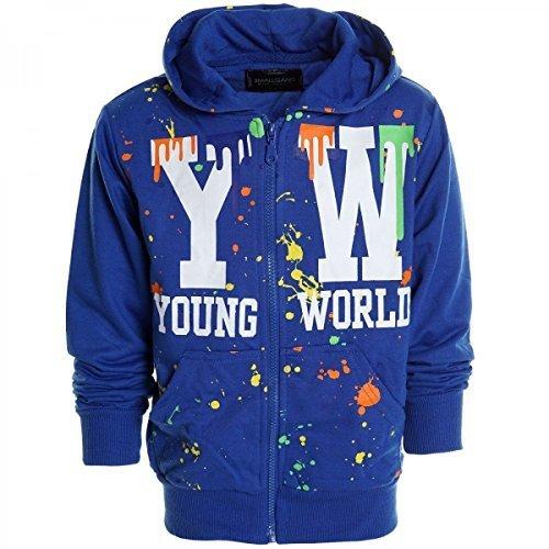 Kinder Pullover Kapuzenpullover Hoodie Jacke Sweatshirt Kapuzen Sweatjacke 20438, Farbe:Blau;Größe:140