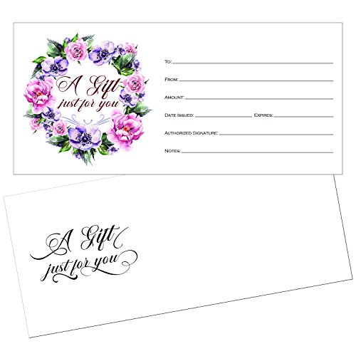 25 4x9 Cute Blank GIft Certificate Cards for Business with Envelopes, Restaurant, Spa Beauty Makeup Hair Salon, Wedding, Bridal, Baby Shower Print Custom Personalized Bulk Template Kit Forms (Business Envelope Template)