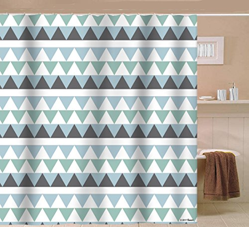 Sunlit Geometric Patterned Shower Curtain Triangle Pattern Bathroom Home Decor Tiffany Blue and Gray Striped 72x72 Water Repellent Fabric (Gray Pattern)