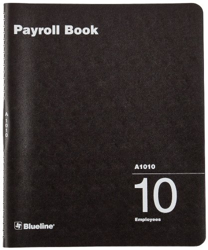 Blueline Payroll Book, Twin-Wire Binding, Book for 10 Employees, 12-Inch x 10-Inch, English, Black (A1010) Blueline Canada