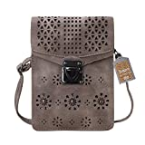 Bosam PU Woman crossbody Wallet Bag with Hollow Texture Iphone Pouch Purse for Iphone X 8 7 6 6S Plus Samsung Galaxy S8 S7 S6 and other smartphones (Brownness)