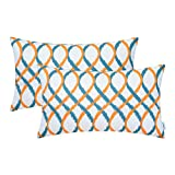 Cheap CaliTime Pack of 2 Cozy Fleece Bolster Pillow Cases Covers Couch Bed Sofa Modern Two-Tone Waves Geometric 12 X 20 inches Orange/Teal Blue