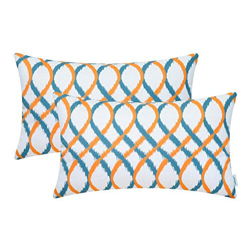 CaliTime Pack of 2 Cozy Fleece Bolster Pillow Cases Covers for Couch Bed Sofa Modern Two-Tone Waves Geometric 12 X 20 Inches Orange/Teal Blue (Orange Bolster Pillow)