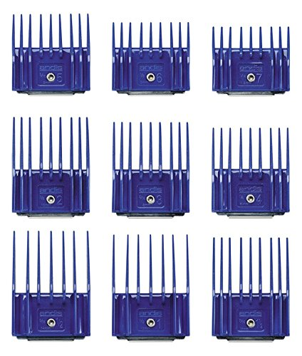 "Andis Pet 9-Piece Small Comb Set ""Snap-On & Off Easily"" for grooming versatility fits size 40, 35, 30 and 10 blades"
