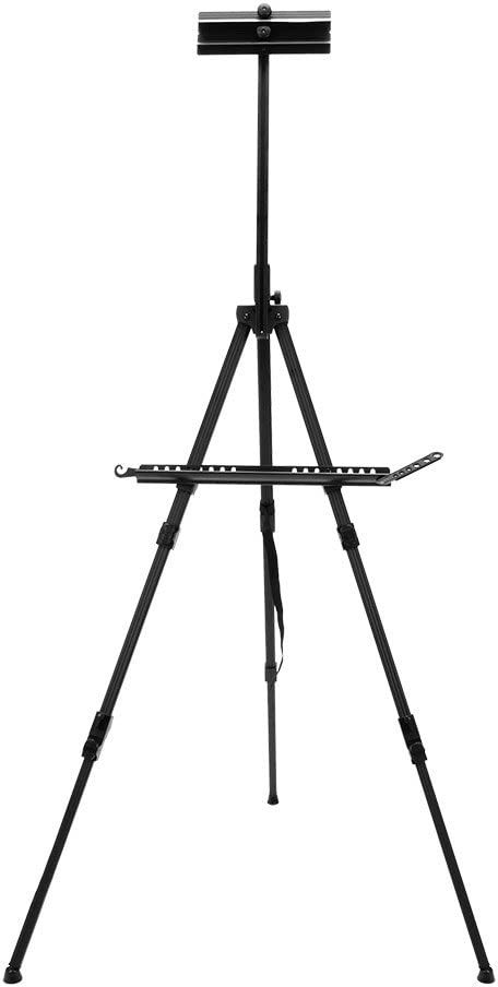 SoHo Urban Artist Watercolor Field Easel with Carry Case - Light Weight, Adjustable Height and Foldable for Travel Painting - Black Anodized Aluminum
