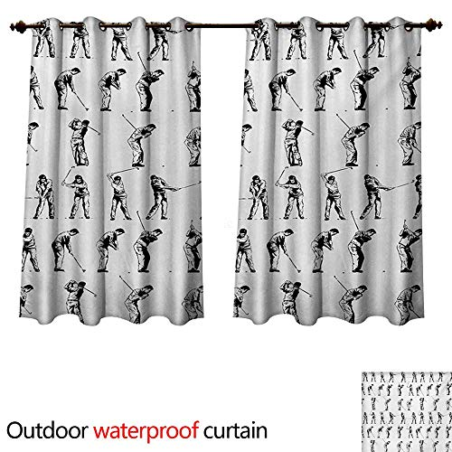 utdoor Curtains for Patio Sheer Golf Swing Shown in Fourteen Stages Sports Hobby Themed Sketch Art Storyboard Print W55 x L45(140cm x 115cm) ()