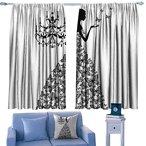 DONEECKL Decorative Curtains for Living Room Fabric Collection Blackout Draperies for Bedroom Living Room W55 xL63 Butterflies Chandelier Princess Wedding Gown ()
