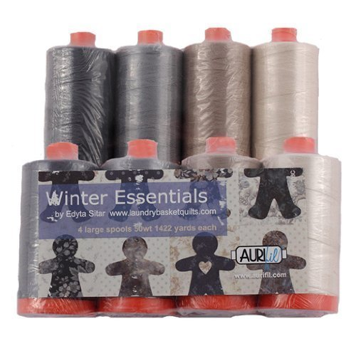 Aurifil Thread WINTER ESSENTIALS Dark and Neutrals By Edyta Sitar 4 large (1422 yard) Spools 50wt Cotton