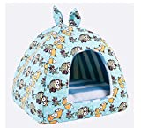 RunHigh Classic Warm House Pets Ger Sleeping Room Removable Cushion Small Dog Cat Multi-Color