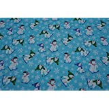 PRESTIGE FABRICS Blue Christmas cotton print fabric snowmen XMAS decorations Rose And Hubble craft quilting dress fabric table runners - Per METRE 135cm by Prestige Fashion UK Ltd