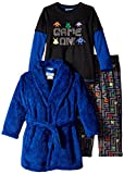 Bunz Kids Little Boys' 3 Piece Robe and Pajama Set Game On