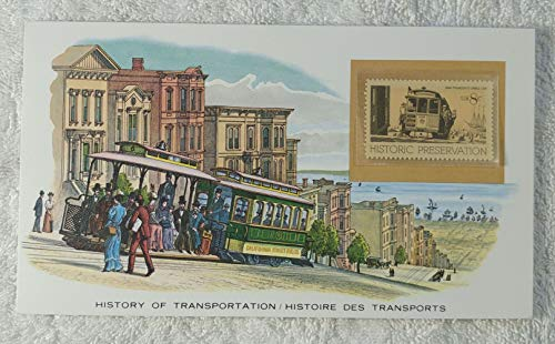 San Francisco Cable Car - Postage Stamp (United States, 1971) & Art Panel - The History of Transportation - Franklin Mint (Limited Edition, 1986)