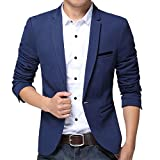 Pishon Men's Slim Fit Suits Casual One Button Flap Pockets Solid Blazer Jacket, Dark Blue, Tag Size 3XL=US Size M