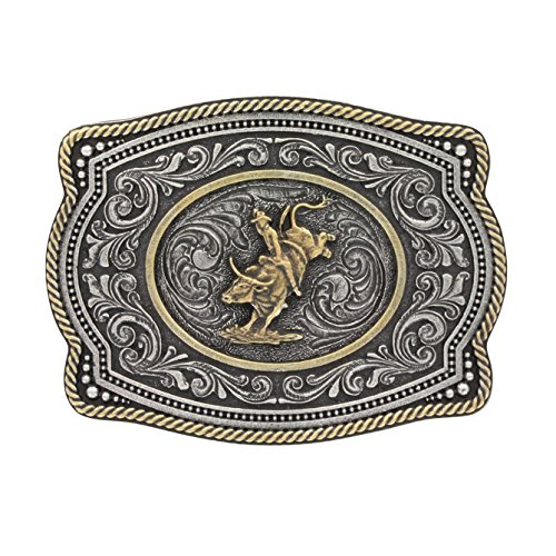 Bull Rider Buckle (Montana Silversmiths Men's Silver Two Tone Bull Rider Belt Buckle Silver)