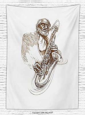 Jazz Music Decor Fleece Throw Blanket Vintage Style Painting Print of Old Native Jazz Man Solo Rocking with Saxophone Throw Blanket for es Brown White Red