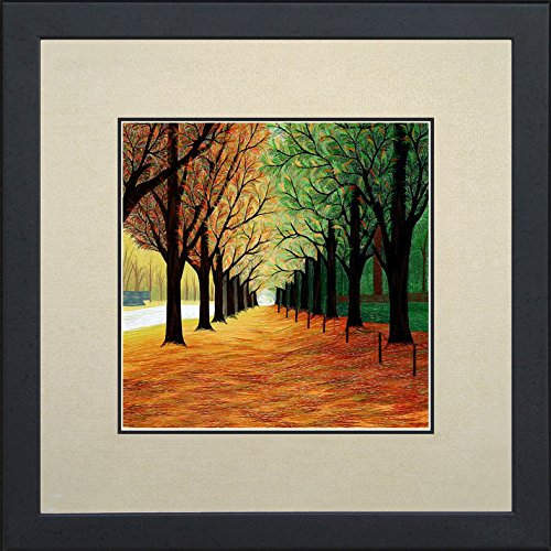 - King Silk Art 100% Handmade Embroidery Autumn Tree Path Chinese Print Framed Wildlife Landscape Painting Gift Oriental Asian Wall Art Décor Artwork Hanging Picture Gallery 37033WFG